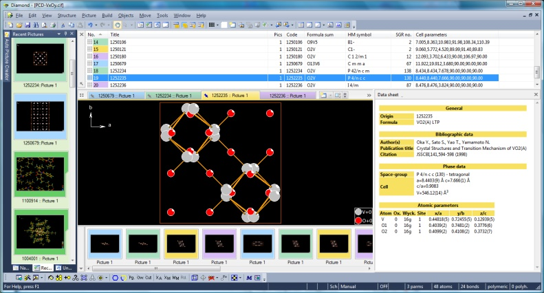 Screenshot of Diamond with binary V-O compounds from Pearson's Crystal Data and color coding activated