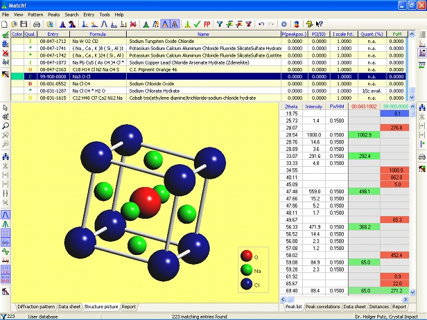 Screen shot of the Match! version 2 prototype containing crystal structure visualization. Click to enlarge.